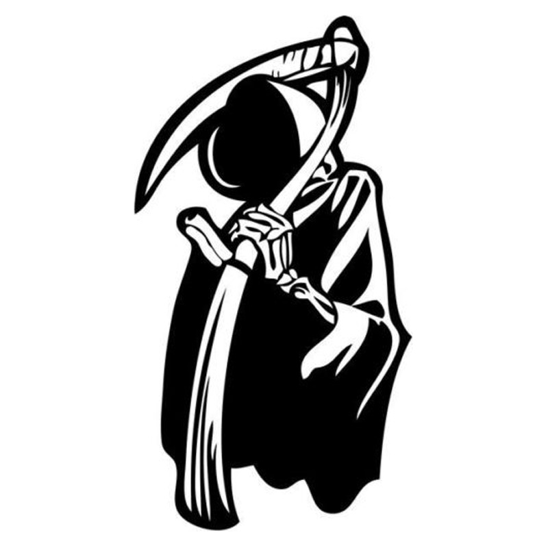 7.7cm*14.2cm Grim Reaper Skull Decals Stickers Decor Vinyl Car Styling Black/Silver S3-5124