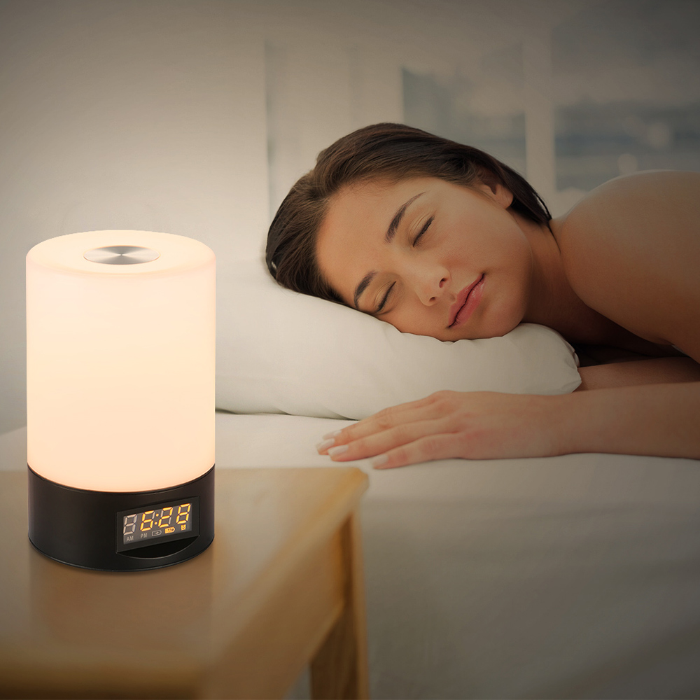 2018 Premium Popular Utorch Wake Up Light Touch Sensitive Clock LED RGB Bedside Lamp with Alarm Clock USB Port For Family Gifts недорого