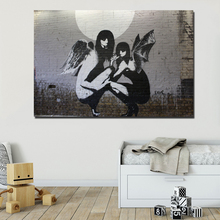 Banksy Moon Graffiti Canvas Painting Prints Wall Pictures For Living Room Home Decor Modern Wall Art Oil Painting Poster Picture graffiti moon