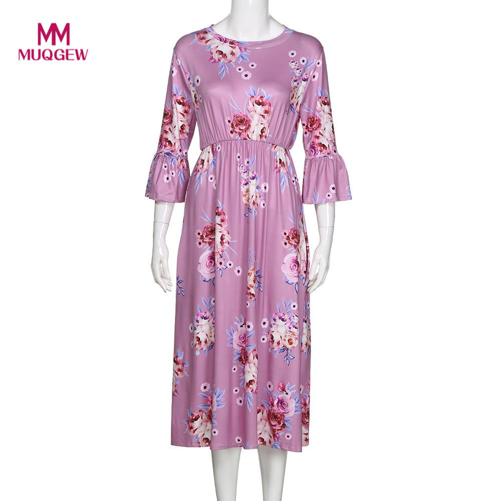 MomMe Baby Lady summer dress Floral Print Match Mother Family Dress Sun Half Sleeve dress Clothes vestidos casuales de mujer