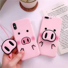 For iPhone Xs Max Xs 7 8Plus For Samsung S10 S8 S9 Note 8 9 A7 A8 A50 J6 Case Pig TPU Case Pig Nose Soft Phone Strap Rope Case(China)