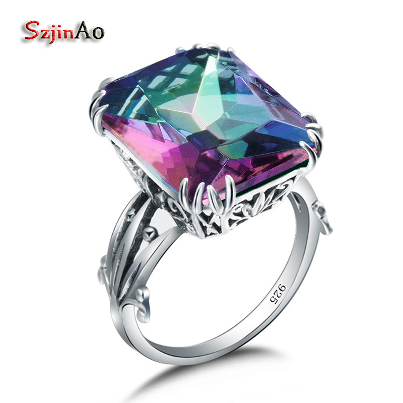 Szjinao Handmade Turkish Jewelry Square 925 Sterling Silver Rings Rainbow Topaz Big Cocktail Rings For Women Bague Homme