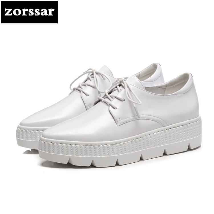 {Zorssar} 2018 New Fashion Genuine Leather Flats platform Women shoes Casual flat Pointed toe shoes Female sneakers shoes 2016 new fashion women flats women genuine leather flat shoes female round toe casual work shoes women shoes