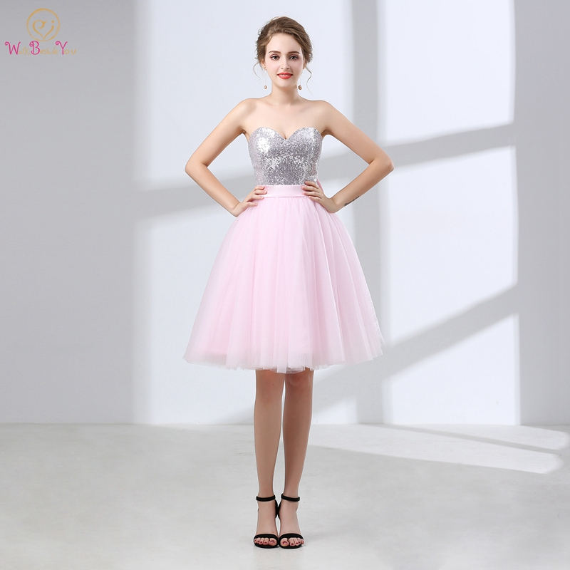 Knee-length Cocktail Dress A-line Sleeveless Sweetheart Neck Sequined Top Bow Back Elegant Lively Elegant Pink New Cocktail Gown