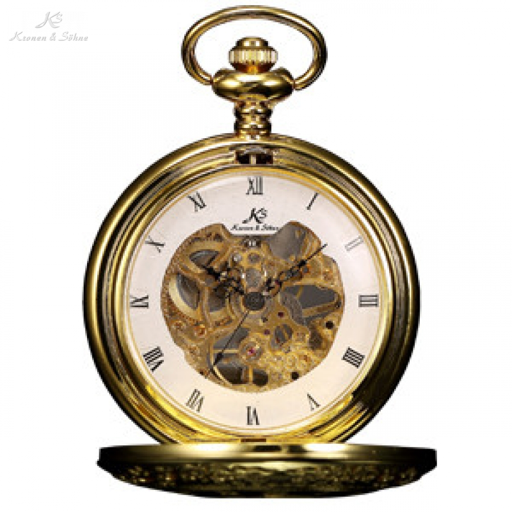 Retro KS Mechanical Skeleton Roman Numerals Golden Case Key Pendant Steampunk Self Winding Pocket Watch Men Jewelry Gift /KSP045 retro luxury wood circle skeleton pocket watch men women unisex mechanical hand winding roman numerals necklace gift p2012c