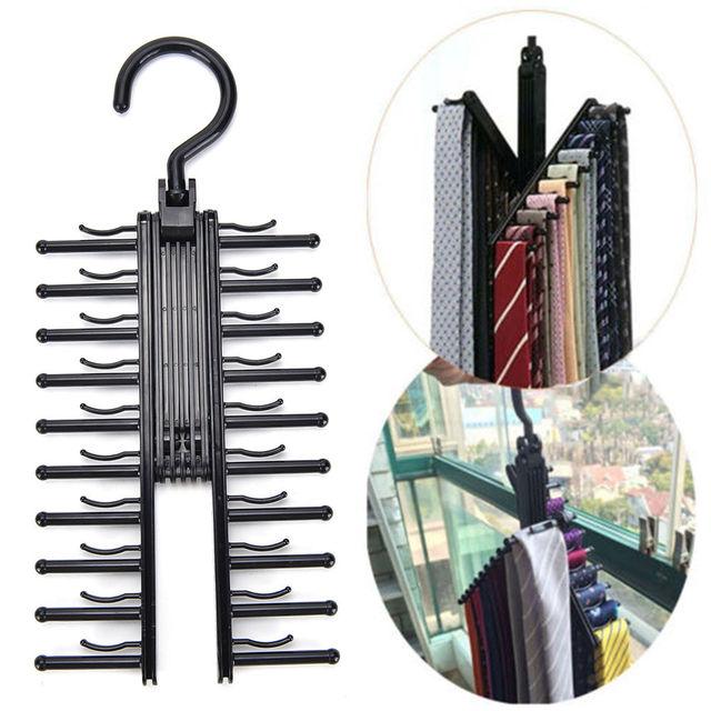 360 Degree Rotating 20 Tie Rack Closet Organizer Neck Ties Necktie Belt  Scarves Non Slip