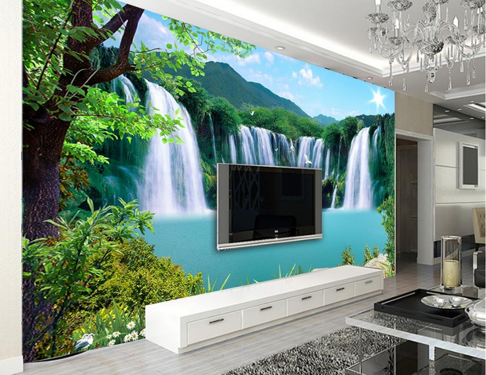Custom 3d landscape wallpaper for walls 3 d photo Waterfall landscape landscape wall TV backdrop nonwoven 3d mural wallpaper custom wallpaper for walls 3 d photo wall mural pastoral country road tv walls 3d nature wallpapers for living room