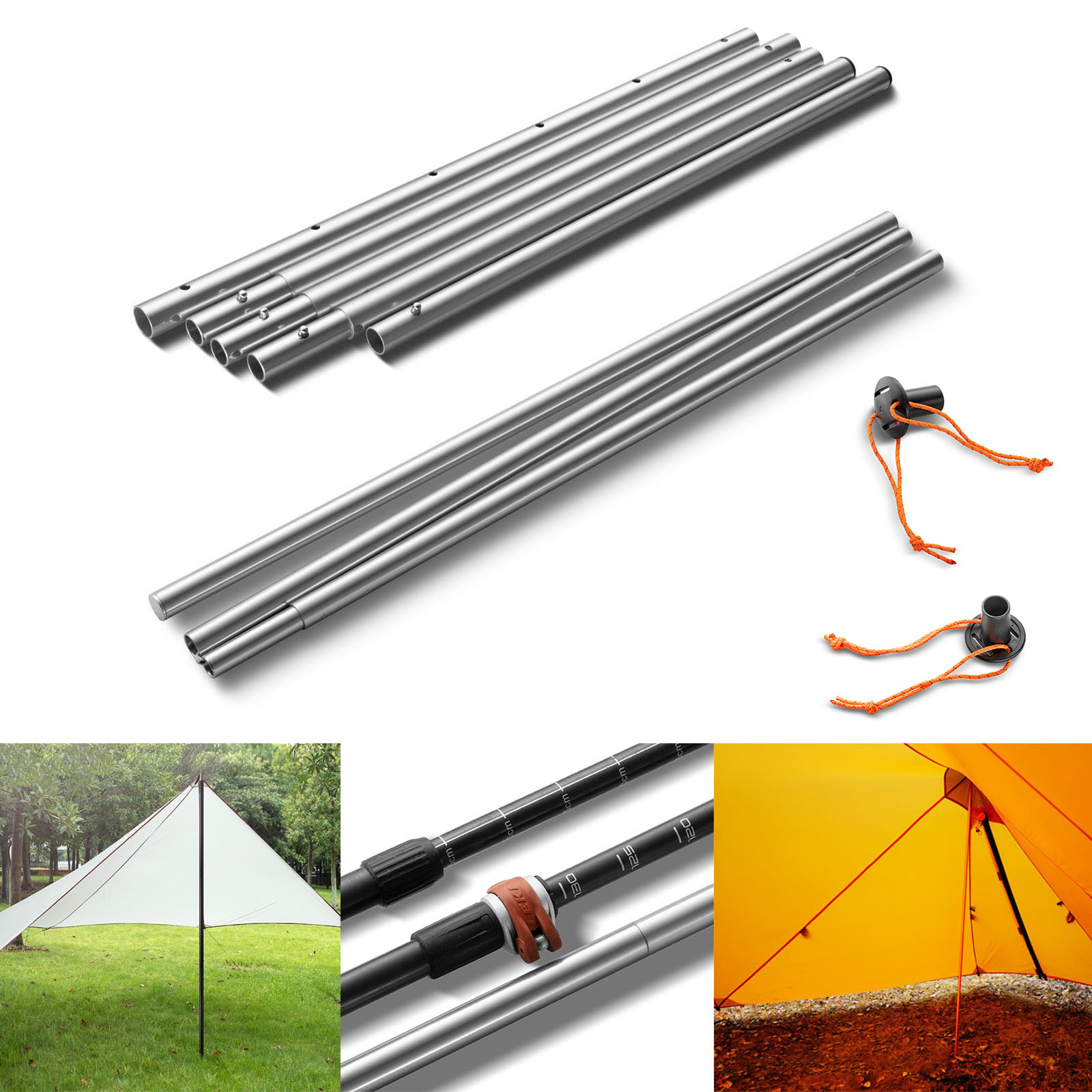 Tent Rod Tarp Shelter Canopy Tent Awning Frames Support Rod Alloy Pole 2Pcs UK