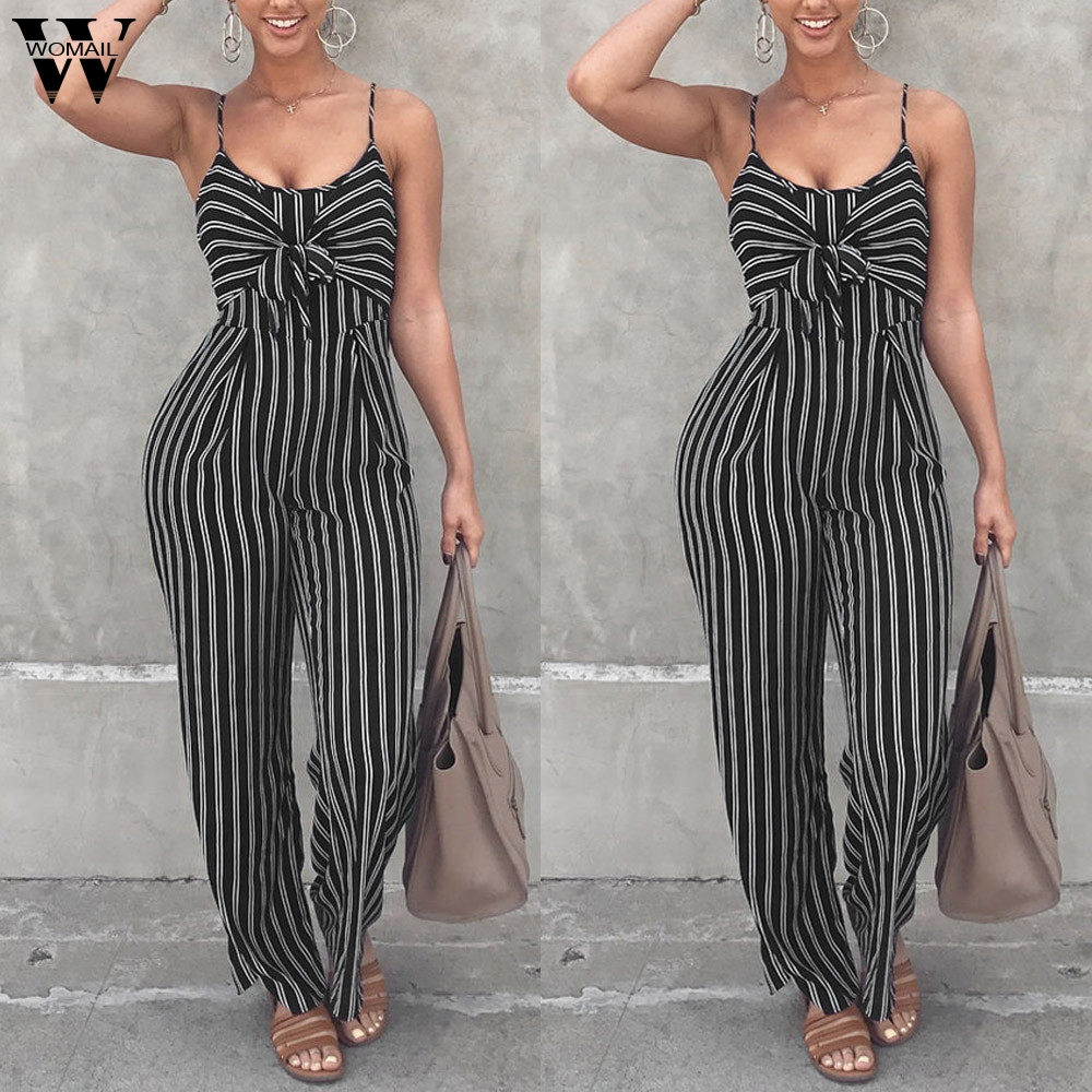 Womail bodysuit Women Summer Casual Clubwear Strappy Striped Playsuit Bandage Bodysuit Party fashion new 2020 M1