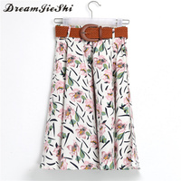 Dreamjieshi Cute Fresh Girl Pink Flower Print Summer Knee Length Skirt Fashion Spring Summer Autumn Loose