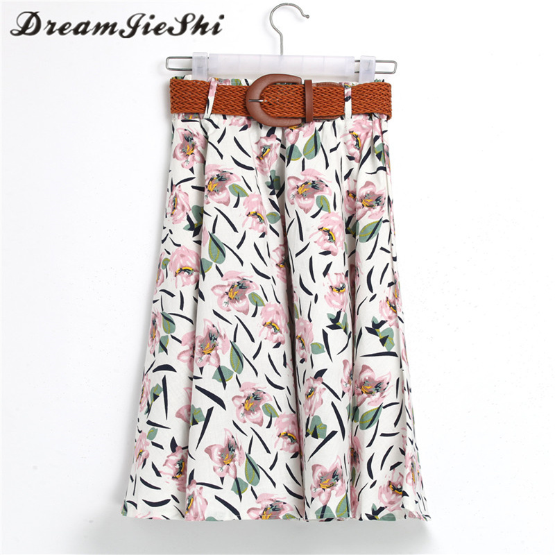 Dreamjieshi Cute Fresh Girl Pink Flower Print Summer Knee Length Skirt Fashion Spring Summer Autumn Loose