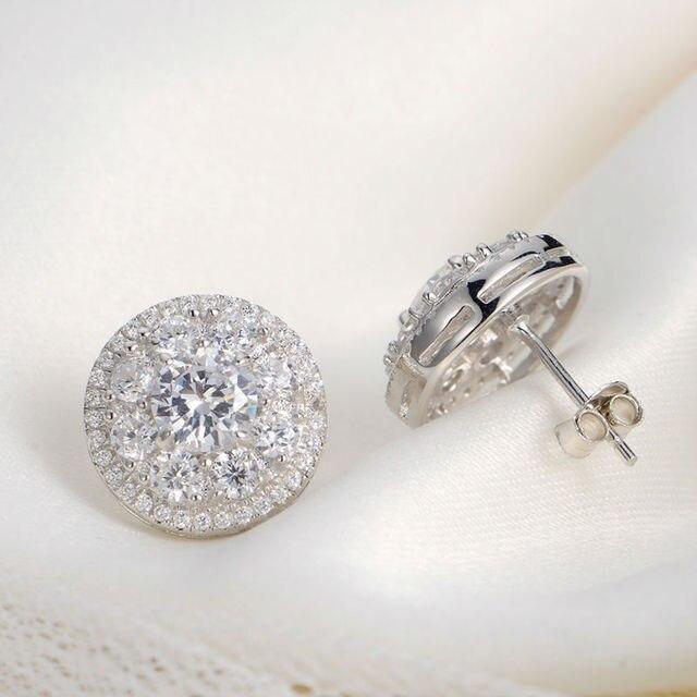 New 925 Sterling Silver Stud Earrings Royal Design AAA CZ Classic Jewelry For Women JE1033