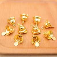 Behogar 100PCS 11mm Xmas Mini Gold Jingle Bells Ornaments Decorations for Christmas Tree Decorative Flag Craft Accessories Decor