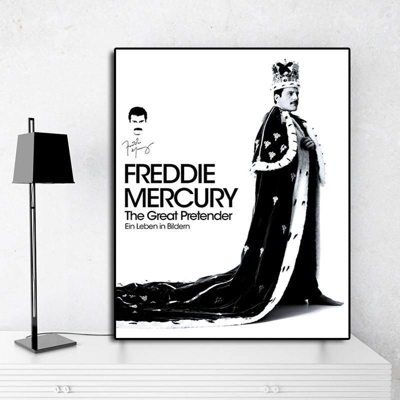 Freddie Mercury The Great Pretender Poster Canvas Painting Print Bedroom Home Decor Modern Wall Art Oil Painting Salon Pictures monochrome
