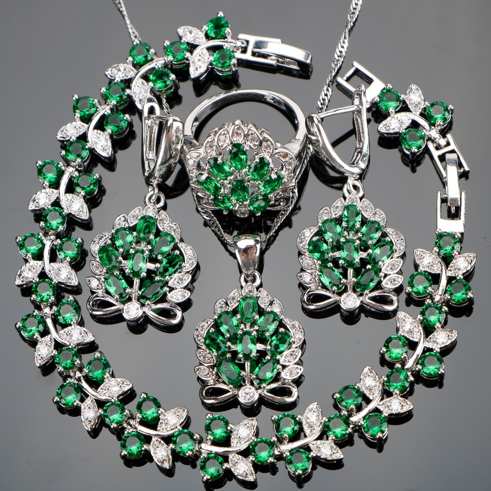все цены на Silver 925 Stones Women Wedding Jewellery Green Zircon Costume Jewelry Sets With Earrings Pendants Necklaces Rings Set Gift Box