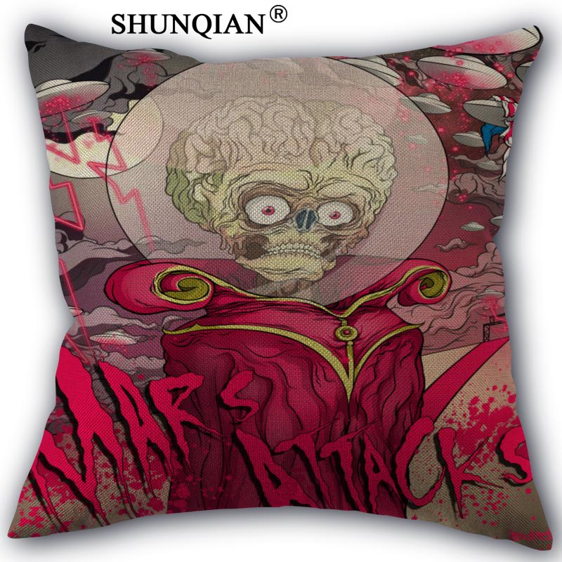 mars attacks Pillowcase Cotton Linen Square Zippered Pillow Cover For Office,Family Customize Your Picture 45x45cm one side