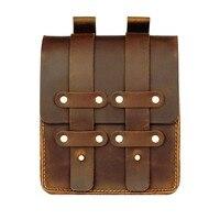 Moterm Genuine Leather Fanny Pack Waist Bag Belt Phone Pouch Bag for Men Vintage Travel Waist Pack Male Small Waist Bag