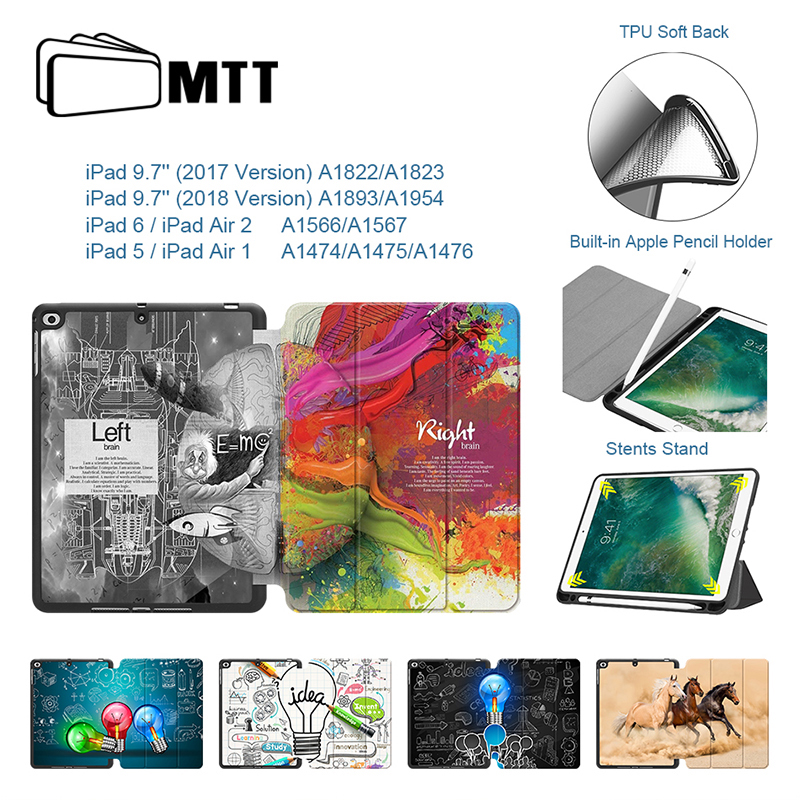 MTT Case For iPad 9.7 inch 2017 2018 Funda TPU Leather Flip Cover for iPad Air 1 Air 2 Auto Sleep/Wake A1822 A1823 A1893 A1954