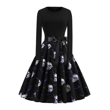 Gothic Vintage Women Dress Pullover Skull Print Fashion Black Dress