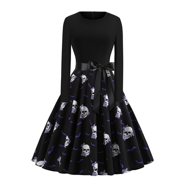 2019 Fall Gothic Halloween Vintage Office Lady Women Dresses Pullover Skull Zipper Print Female Fashion Elegant Black Dress