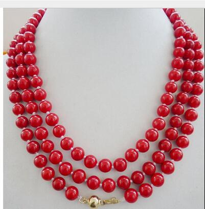 YOUCAIHUA red artificial coral 8mm Hug new design long natural necklace Handmade chain Silver Jewelry