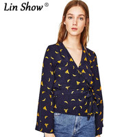 LINSHOW Black Banana Printed Long Sleeve Womens Top Casual O Neck Toyouth Summer Women T Shirt