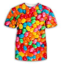 Candy 3D Men Women Short Sleeve Printed T-Shirt Colorful  Couples Clothes Best Selling unisex Tee Lollipop CA004