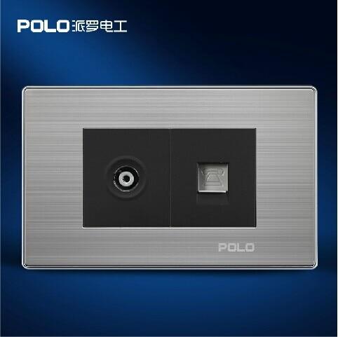 купить Free Shipping, POLO Luxury Wall Socket Panel, TV+Telephone Socket, Champagne/Black, Power Electrical Outlet, Plug, 110~250V по цене 784.83 рублей