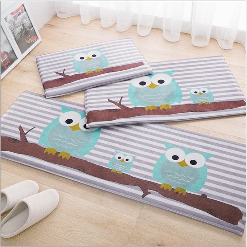 Owl Carpet 45*120cm Kitchen Mat Cartoon Home Carpet Door Antislip Rug Floor  Mat Rectangle