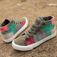 Fashion High Top Women Casual Shoes Patchwork Ladies Canvas Shoes Female Trainers Canvas Espadrilles Sapato Feminino