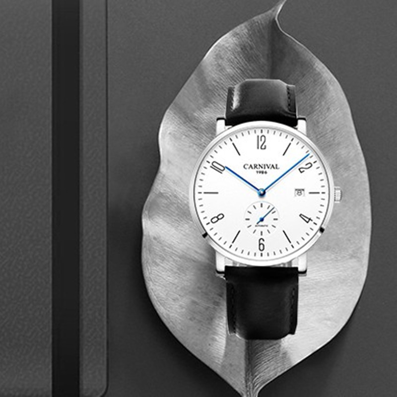 Karneval Automatische mechanische Uhr Männer luxury brand voller Stahl Business männer Uhren Calkskin Leder Mode Casual Datum Uhren - 3