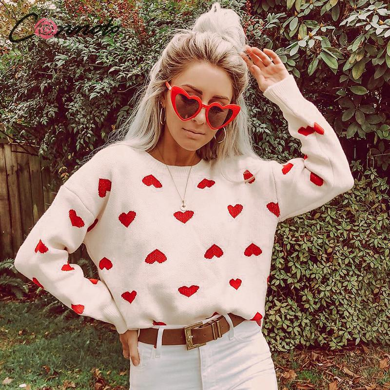 Conmoto Women 2019 Autumn Winter Sweater Fashion High Street White Crochet Heart Pullover Casual Loose Lantern Sleeves Jumpers