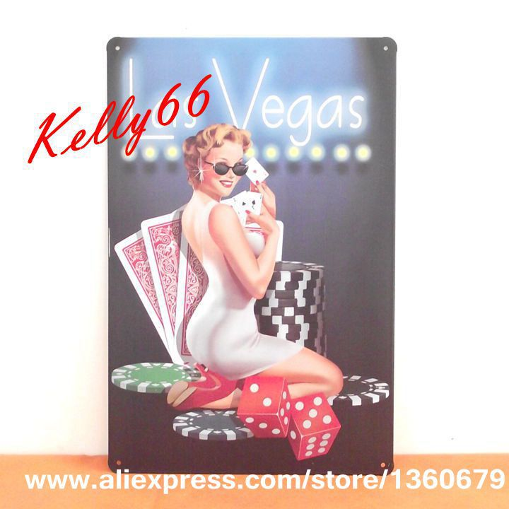 [ Kelly66 ] 20*30 CM Size LAS VEGAS Metal Plaque House Wall Painting Craft B-37