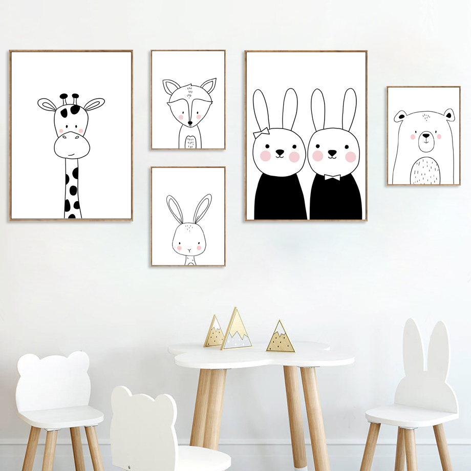 Best Product  Cartoon Giraffe Rabbit Bear Fox Nordic Posters And Prints Nursery Wall Art Canvas Painting Wall Pic