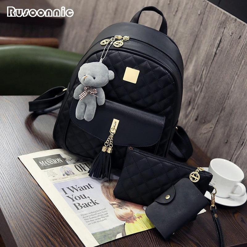 Rusoonnic Women Composite Bag High Quality Pu Leather Backpack School Bags Mochila Feminina  Rucksack