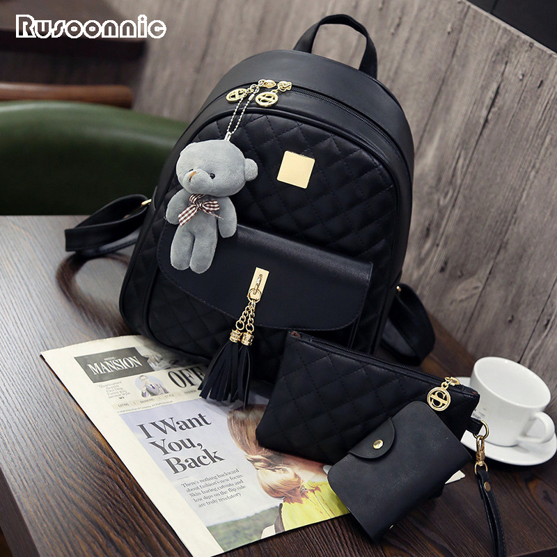 Rusoonnic Women Composite Bag High Quality Pu Leather Backpack School Bags Mochila Feminina  Rucksack