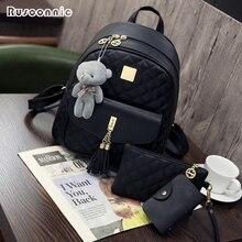 Rusoonnic Women Composite Bag High Quality Pu Leather Backpack School B