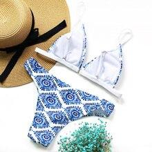 2018 Sexy Ladies White Floral Halter Thong Biquini Swimsuit Swim Beach Wear Bathing Suit Swimwear Women Brazilian Push Up Bikini
