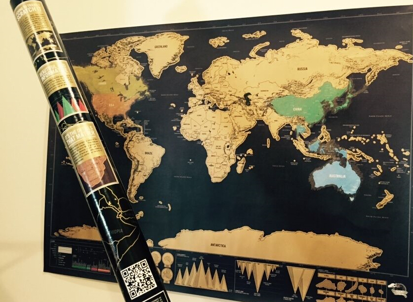 Free Shipping Novelty Deluxe Travel Scratch Off Map Personalized