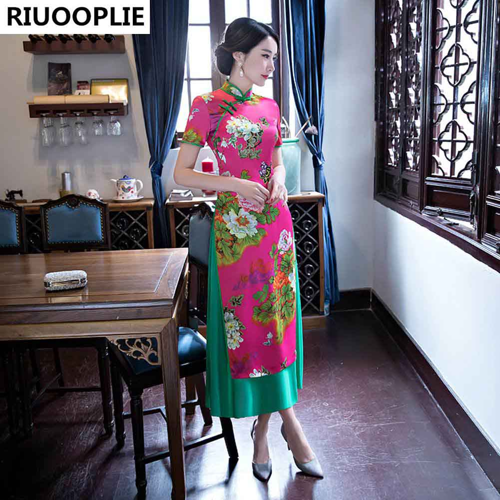 RIUOOPLIE Hinese Style Dress Femme Jupe Qipao Jacquard Robe De - Vêtements nationaux - Photo 2