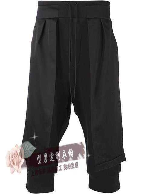 27-44!!Male faux two piece cropped  culottes spring and summer slim culottes harem pants