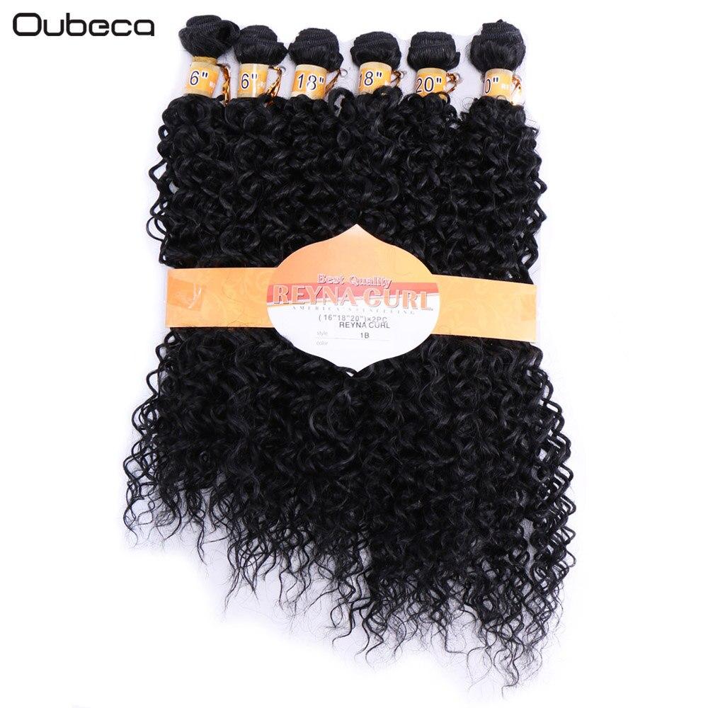 OUBECA 6Pcs / Pack Kinky Curly Black 1B Hårvävning Syntetisk - Syntetiskt hår