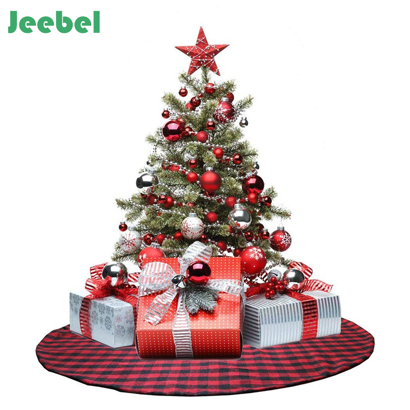 122cm buffalo plaid christmas tree skirt red non woven new year christmas decorations xmas party decor ornament in tree skirts from home garden on