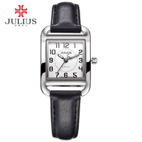 Brand Julius Casual Woman Fashion Silver Rose Gold Rectangle Leather Strap Square Famous Design Popular Watch