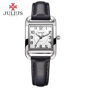 434631308b69 Marca Julius mujer Casual de moda de oro rosa de plata rectángulo correa de  cuero cuadrado