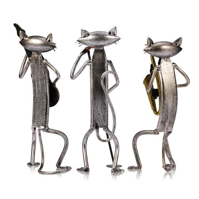 Tooarts Metal Figurine pop A Playing Guitar Saxophone Singing Cat Figurine Furnishing Articles Craft Gift For Home Decoration 6