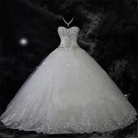 Robe De Mariage Luxury Rhinestone Plus Size Boho Wedding Dress 2018 Sweetheart Ball Gown Wedding Bridal Gowns Vestido De Novia
