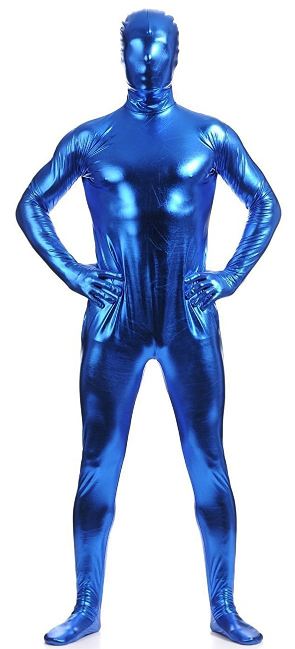 Mens Full Body Zentai Suit Metallic Spandex Catsuits Hooded Zentai Bodyuits Lycra Body Suits Halloween Party Cosplay Costumes