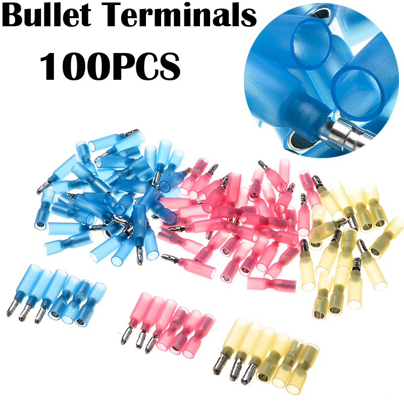100PCS Heat Shrink Wire Connectors Kit Electrical Insulated 22-10AWG Waterproof Crimp Marine Automotive Bullet Terminals Set 305pcs insulated 22 10awg terminals cold pressed wire connectors