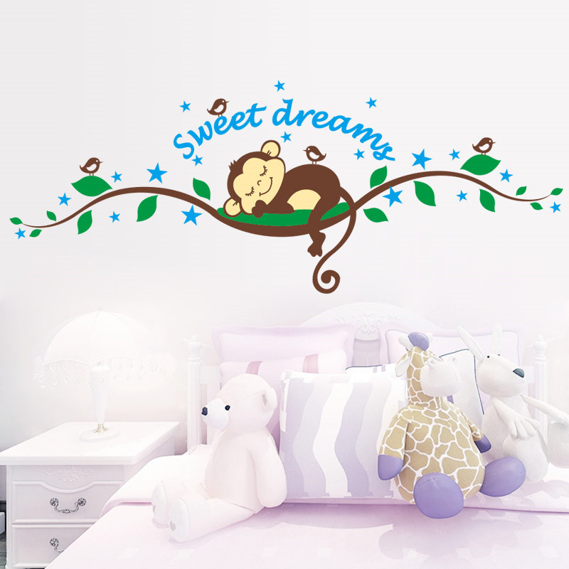 % Sweet Dreaming Sleeping monkey on the trees bird wall stickers for kids rooms wall decal Mural Kids Nursery Bedroom Decoration